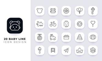 Line art incomplete baby line icon pack. vector