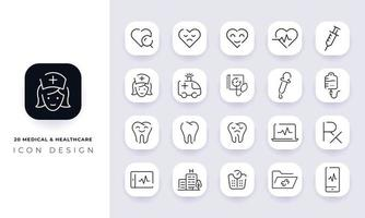 Line art incomplete medical and healthcare icon pack. vector
