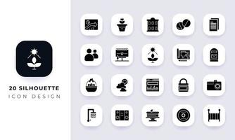 Minimal flat silhouette icon pack. vector