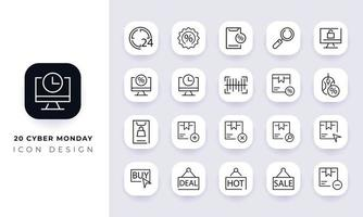 Line art incomplete cyber monday icon pack. vector