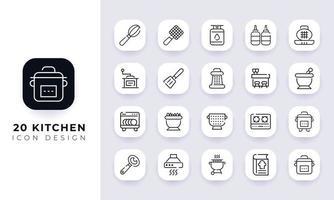 paquete de iconos de cocina incompleta de arte lineal. vector