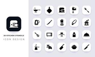 Minimal flat kitchen utensils icon pack. vector