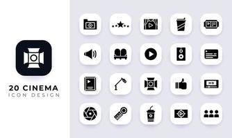 Minimal flat cinema icon pack. vector