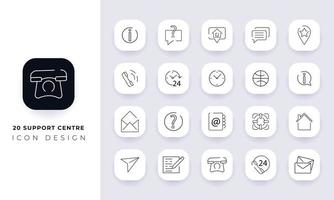 Line art incomplete support centre icon pack. vector