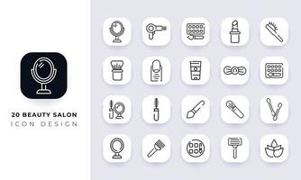 Line art incomplete beauty salon icon pack. vector