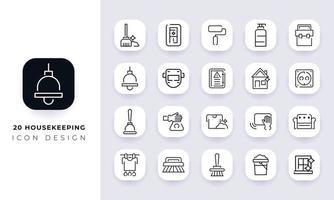 paquete de iconos de limpieza incompleta de arte lineal. vector