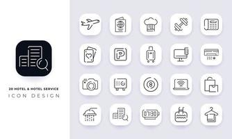 Line art incompleto paquete de iconos de servicio de hotel y hotel. vector