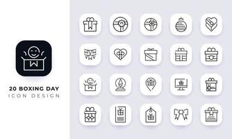 Line art incomplete boxing day icon pack. vector