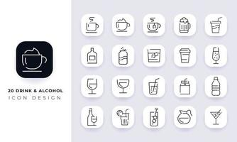 Line art incomplete drink and alcohol icon pack. vector
