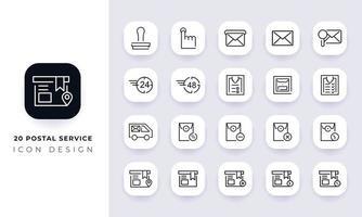 paquete de iconos de servicio postal incompleto de arte lineal. vector