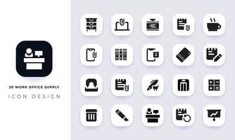Minimal flat work office supply icon pack. vector