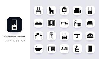 interior plano mínimo y paquete de iconos de muebles. vector
