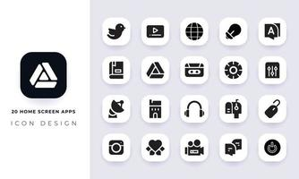 Minimal flat home screen apps icon pack. vector