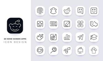 Line art incomplete home screen apps icon pack. vector