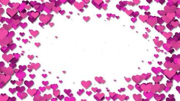 Beautiful Pink Hearts forming a frame background video