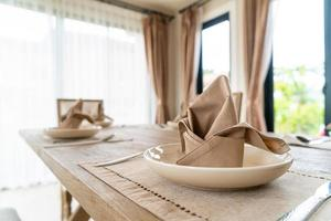 Napkins on the dining table photo