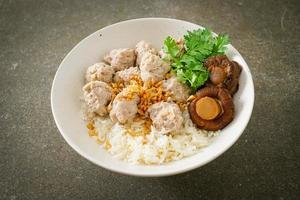 gachas de arroz seco con tazón de cerdo hervido foto
