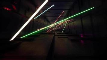 Movement inside the tunnel with neon ribbons video
