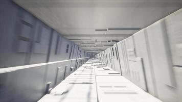 Movement inside the white concrete tunnel video