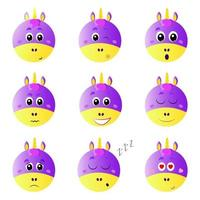 Set of vector emoticons with a unicorn