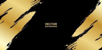 Abstract. Brush paint gold color on black background. Vector. vector