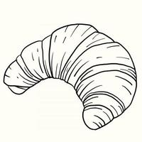 Doodle freehand sketch drawing of croissant bread. vector