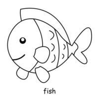 niños para colorear sobre el tema del vector animal, pez