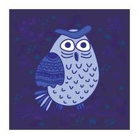 Cute owl hand drawn flat vector illustration. Adorable catta character