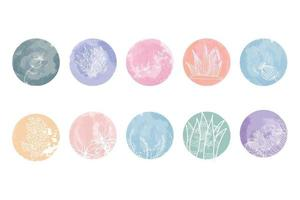 Highlight cover set, abstract floral botanical icons for social media. vector