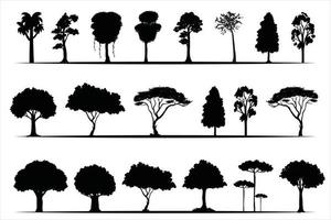 trees silhouettes collection on white background , on different layers vector