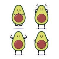 Cute kawaii avocado illustration design vector