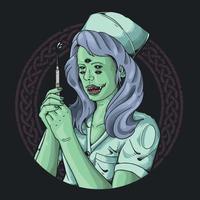 devil nurse give a pandemic vaccine illustration vector