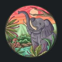 elephant is bathing in the river illustration vector