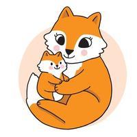 Cartoon cute hand draw mom fox  hug baby fox, Autumn vector. vector