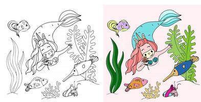 vector illustration with a unicorn mermaid
