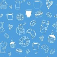Vector seamless pattern with coffee and desserts