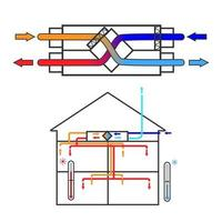 A simple diagram of a ventilation system recuperator. Scheme vector