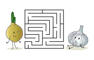 Square maze labyrinth with cartoon characters. Cute onion and garlic vector