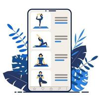 Yoga online. Girl coach on a smartphone screen conducts a lesson. vector