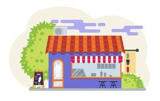 Bubble tea street shop. Coctail vector