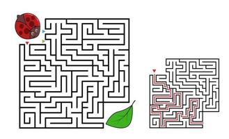 Square maze labyrinth with cartoon characters. Cute ladybug. vector