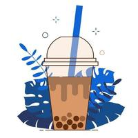 Brown bubble milk tea ads with delicious tapioca black pearls. Taiwan vector