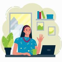 Video conference illustration. Stay and work from home. Girl vector