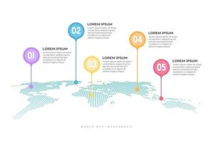 World map with pointer marks infographic. vector