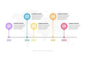 Business timeline with world map background infographic template. vector