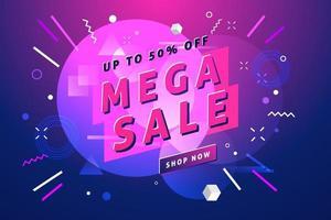pancarta y póster de mega venta. pancarta y póster de promoción. vector