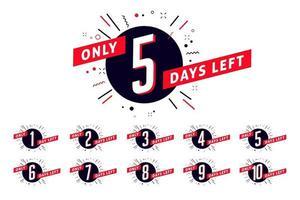 Number of days left sign. Promotional banner. vector
