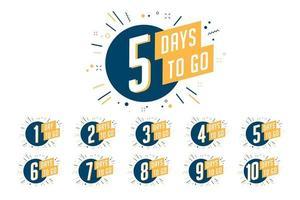 Number of days left to go, badges or sticker design. vector