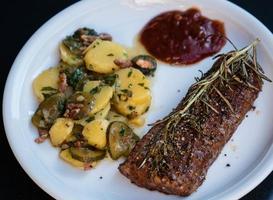 Rosemary lamb steaks with garlic photo