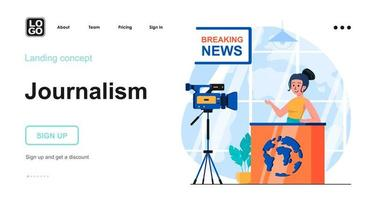 Journalism web concept landing page template vector